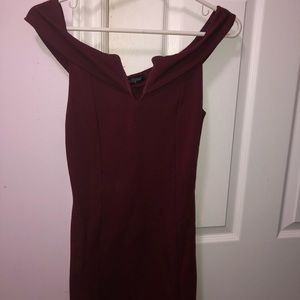 Burgundy off the shoulders dress